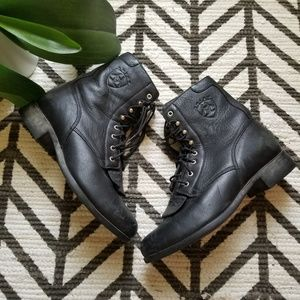 Ariat lace up black leather western boots 10070